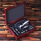 Personalized 7-piece Wine Accessories Tool Kit in Cherry-Wood Box