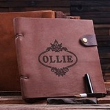 Personalized Brown Leather Travel Diary/Sketchbook with Snap Closure