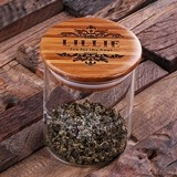 Glass Tea Container with Printed Design and Personalized Wood Lid