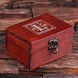 Monogrammed Cherry-Wood Treasure Trunk/Jewelry Box with Latch Closure