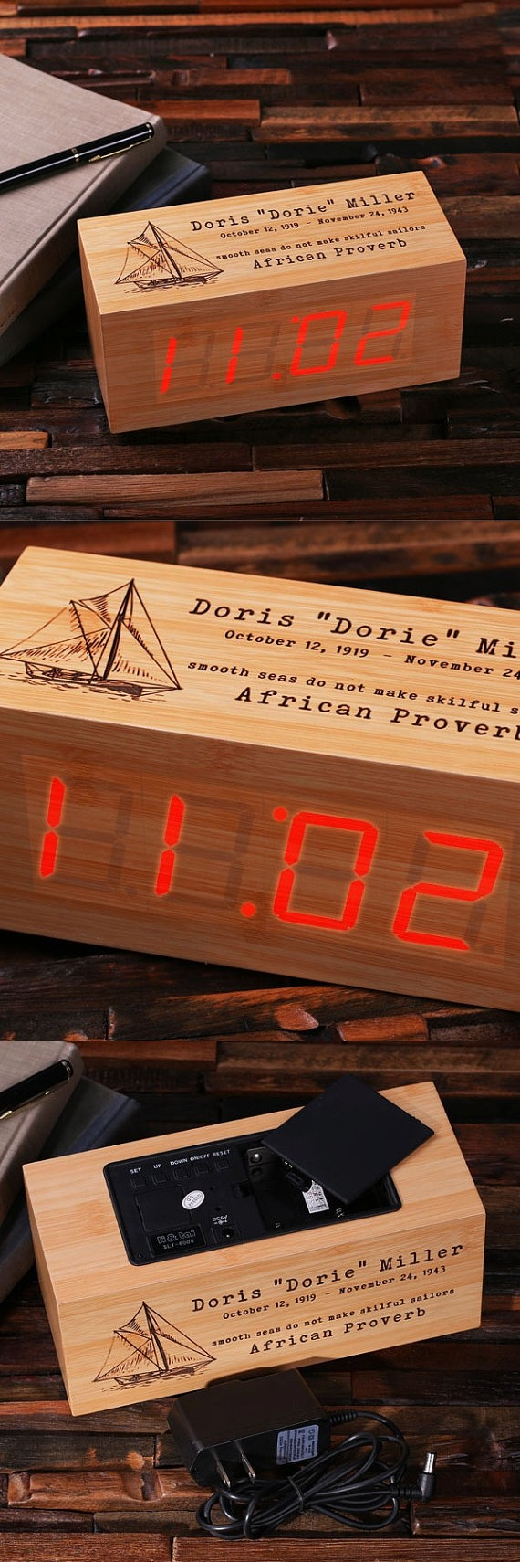 Custom Engraved Rectangular-Shaped Digital Wood Clock with LED Display