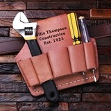 Personalized Engraved Genuine Leather Compact Tool Belt Attachment