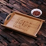 Personalized Engraved Bamboo Wood Serving Tray with Cutout Handles