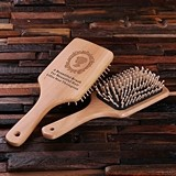 Personalized Natural Wood Large Hair Brush with Engraved Message
