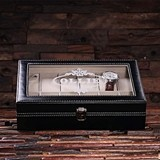 Personalized Black Vegan-Leather Watch Box w/ White Contrast Stitching