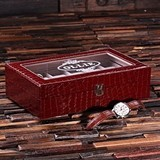 Personalized Black or Burgundy Crocodile Vegan-Leather Watch Box