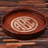 Personalized Dark-Wood Serving Tray with Classic Circle Monogram