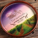 Personalized Dark-Wood Serving Tray with Family Winery Design