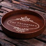 Personalized Dark-Wood Serving Tray with Victorian Oval Crest Motif