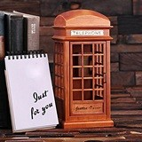 Personalized Vintage British Phone Booth Wood Replica with Music Box