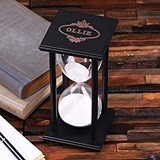Personalized 60 Minutes Black Wood Hour Glass with Sand
