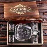 Personalized Whiskey Decanter, 4 Shot Glasses & Shoe Horn in Wood Box
