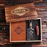 Personalized Gift-Set with Leather Journal, Glass Flask and Wood Knife