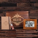 Personalized Gift-Set with Journal, Frame and Key Chain in Wood Box