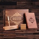Personalized Gift-Set w/ Pen Set, Leather Journal & Digital Wood Clock
