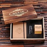 Personalized Gift-Set w/ Journal, Multi-Use Knife & Digital Wood Clock