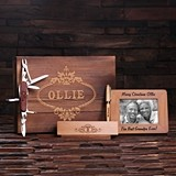 Personalized Gift-Set w/ Frame, Wood Pen Set & Army Knife in Wood Box