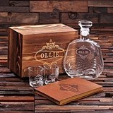 Personalized Whiskey Decanter, Shot Glasses & Leather Journal Gift-Set