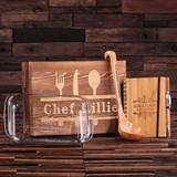 Personalized 4-Piece Culinary Gift-Set with Recipe Book in Wood Box