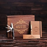 Personalized Gift-Set with Journal, Wood Pen Set and Army Knife in Box