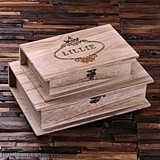 Personalized Wooden Book-Shaped Keepsake Boxes (Set of 2)