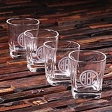 Monogrammed 8 oz. Whiskey Rocks Glasses (Set of 4)