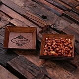 Personalized Engraved 4 pc Stacking Wooden Mini Snack Trays/Coasters