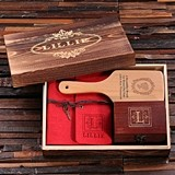 Personalized Set with Journal, Treasure Box & Paddle Brush in Wood Box
