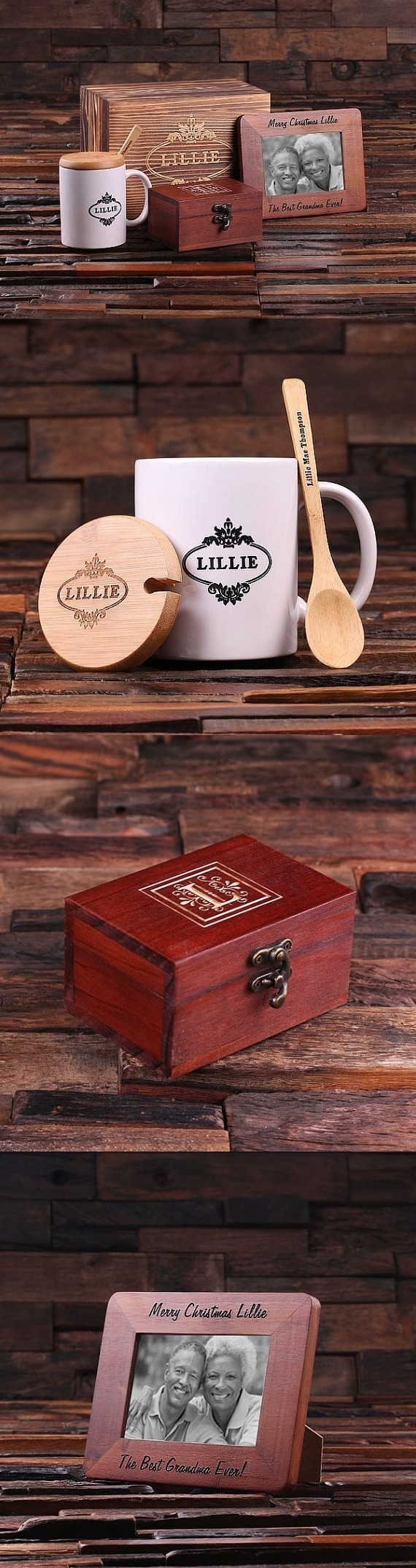 Personalized Set with Frame, Coffee Mug and Treasure Box in Wood Box