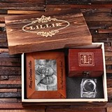 Personalized Set with Frame, Candle Holder & Treasure Box in Wood Box