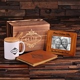 Personalized Gift-Set with Journal, Frame and Coffee Mug in Wood Box