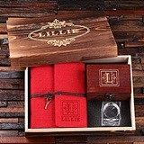 Personalized Set w/ Journal, Treasure Box & Candle Holder in Wood Box