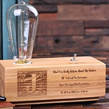 Monogrammed Wooden Edison Lamp Corporate Recognition Award