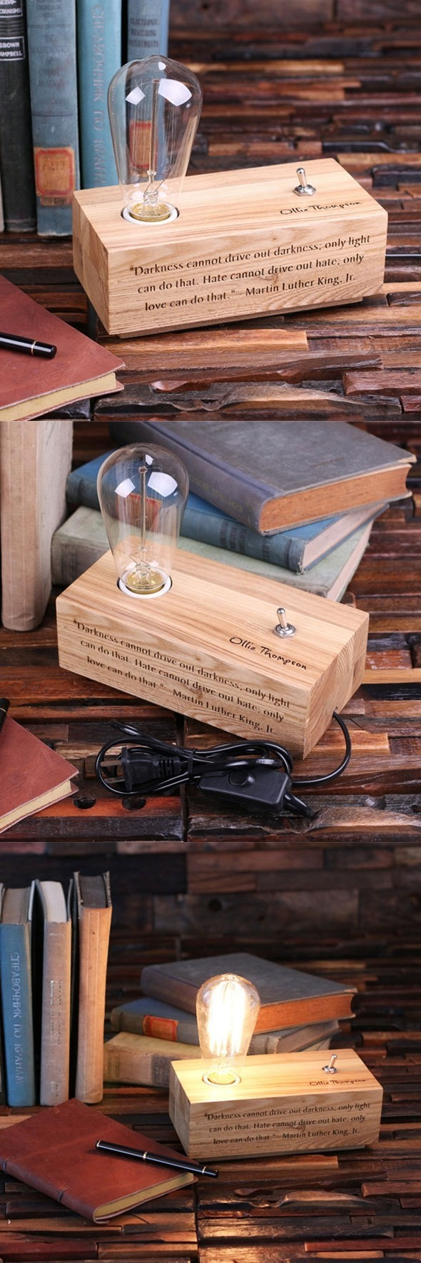 Personalized Wooden Edison Lamp with Vintage Bulb and Toggle Switch
