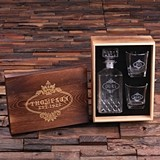 His Hers Ours Whiskey Decanter & Glasses Set in Personalized Wood Box