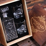 Yours Mine Ours Whiskey Decanter & Glasses with Personalized Wood Box