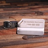 Personalized Engraved Stainless-Steel Luggage Tag with Leather Band