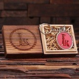 Personalized Acrylic Monogram Key Chain with Wood Box (12 Colors)