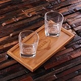 Personalized Bamboo-Wood Bar Tray with Two Whiskey Glasses