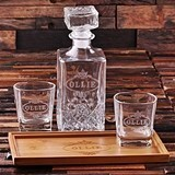 Personalized Wood Bar Tray Set with Decanter & 2 Whiskey Glasses