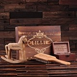 Personalized Rocking Horse, Hair Brush & Treasure Box in Wood Gift-Box