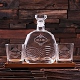 Personalized Wood Bar Tray Set w/ Art Deco Decanter & 2 Rocks Glasses