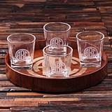 Circle Monogram Grand Tray Set with 4 Whiskey Rocks Glasses