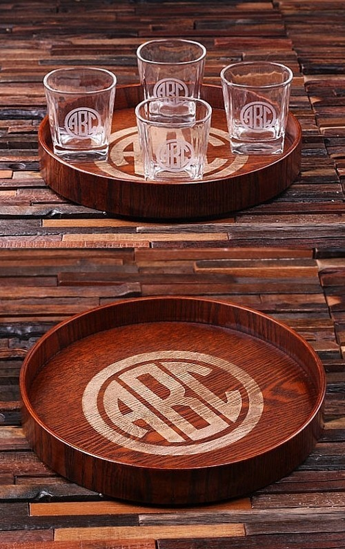 Circle Monogram Grand Tray Set with 4 Whiskey Rocks Glasses