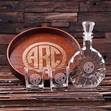 Monogrammed Grand Tray Set with Art Deco Decanter & Whiskey Glasses