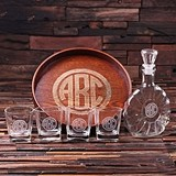 Circle Monogram Grand Tray Set w/ Art Deco Decanter & 4 Rocks Glasses