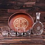 Circle Monogram Grand Tray Set w/ Art Deco Decanter & 4 Rocks Glasses