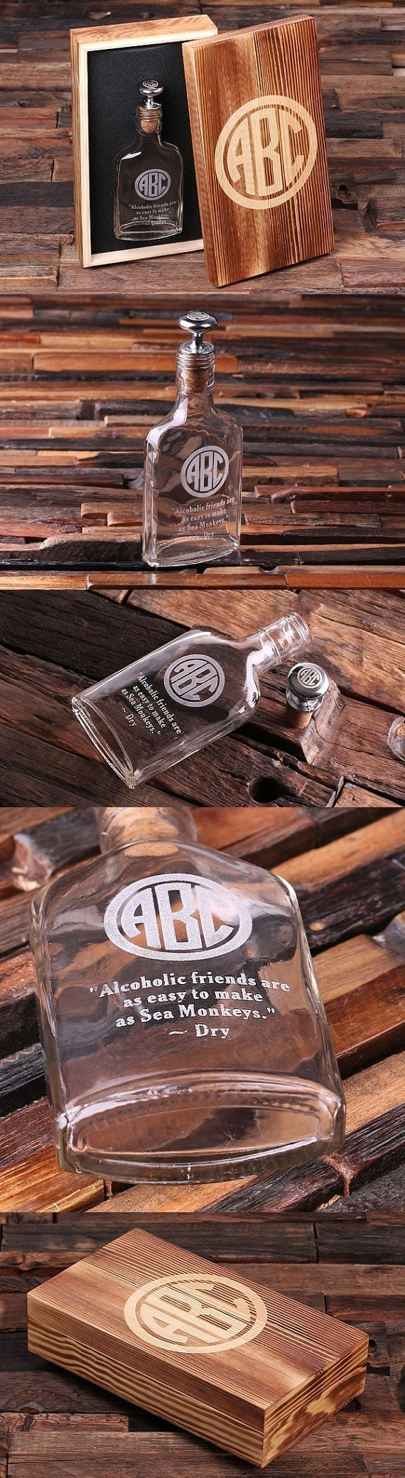 Monogrammed Vintage Style Flask with Silver Stopper in Wood Gift Box