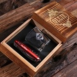 Personalized 3 pc. Gift-Set with Shot Glass & Army Knife in Wood Box