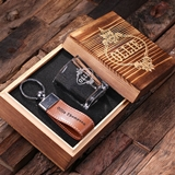 Personalized 3 pc. Gift-Set with Shot Glass & Key Chain in Wood Box